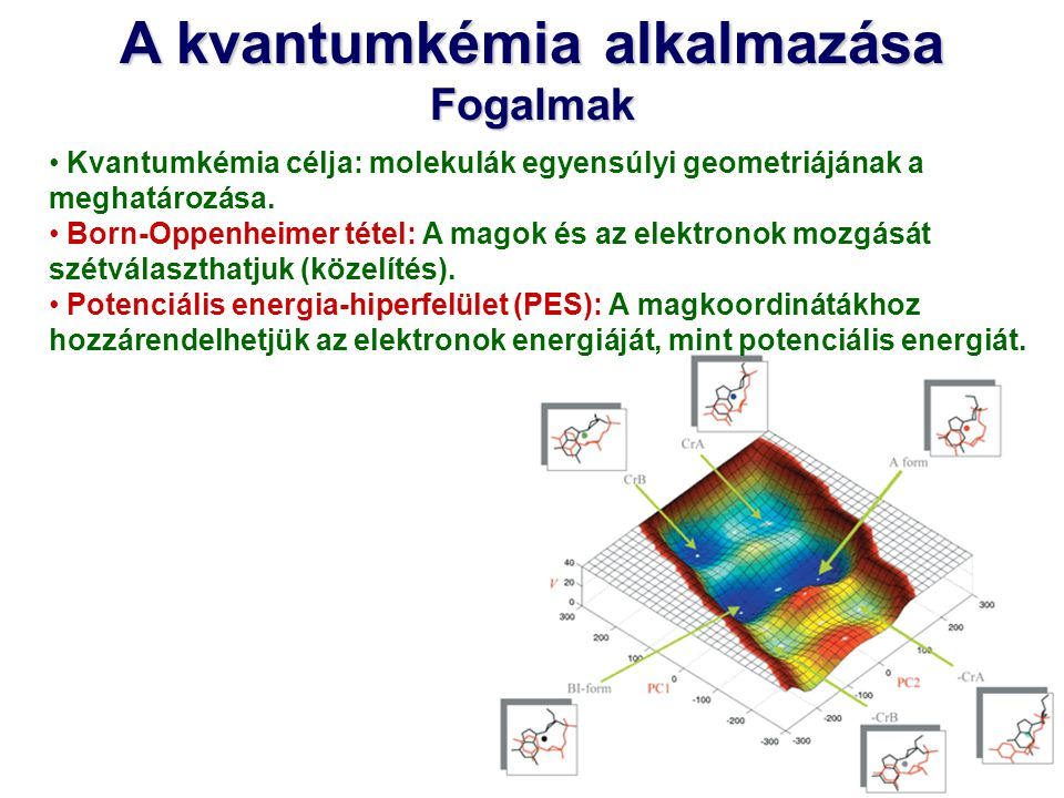 A kvantumkémia alkalmazása Fogalmak Kvantumkémia célja: molekulák egyensúlyi geometriájának a meghatározása. Born-Oppenheimer tétel: A magok és az ele