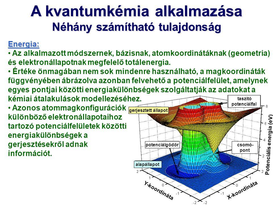 A kvantumkémia alkalmazása Néhány számítható tulajdonság Energia: Az alkalmazott módszernek, bázisnak, atomkoordinátáknak (geometria) és elektronállap