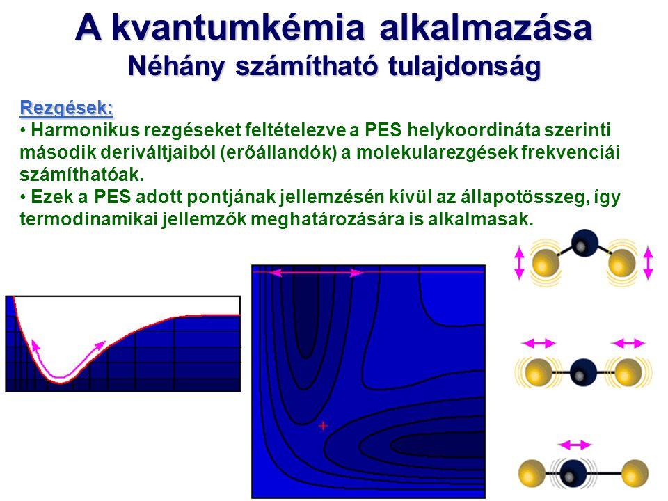 A kvantumkémia alkalmazása Néhány számítható tulajdonság Rezgések: Harmonikus rezgéseket feltételezve a PES helykoordináta szerinti második deriváltja