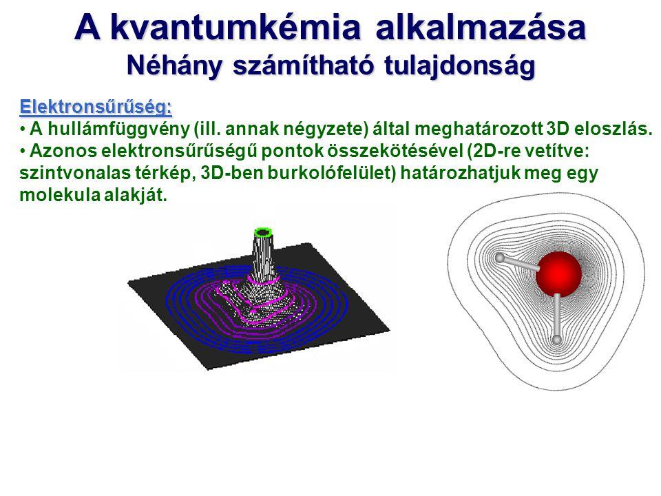 A kvantumkémia alkalmazása Néhány számítható tulajdonság Elektronsűrűség: A hullámfüggvény (ill. annak négyzete) által meghatározott 3D eloszlás. Azon