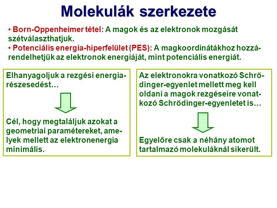 Molekulák szerkezete Born-Oppenheimer tétel: A magok és az elektronok mozgását szétválaszthatjuk. Potenciális energia-hiperfelület (PES): A magkoordin