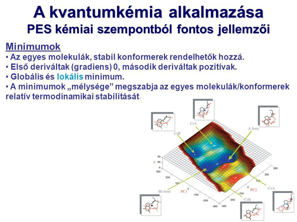 A kvantumkémia alkalmazása PES kémiai szempontból fontos jellemzői Minimumok Az egyes molekulák, stabil konformerek rendelhetők hozzá. Első deriváltak