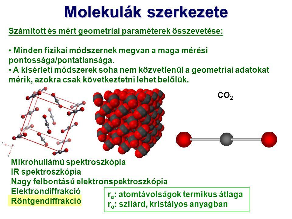 Molekulák szerkezete Számított és mért geometriai paraméterek összevetése: Minden fizikai módszernek megvan a maga mérési pontossága/pontatlansága. A