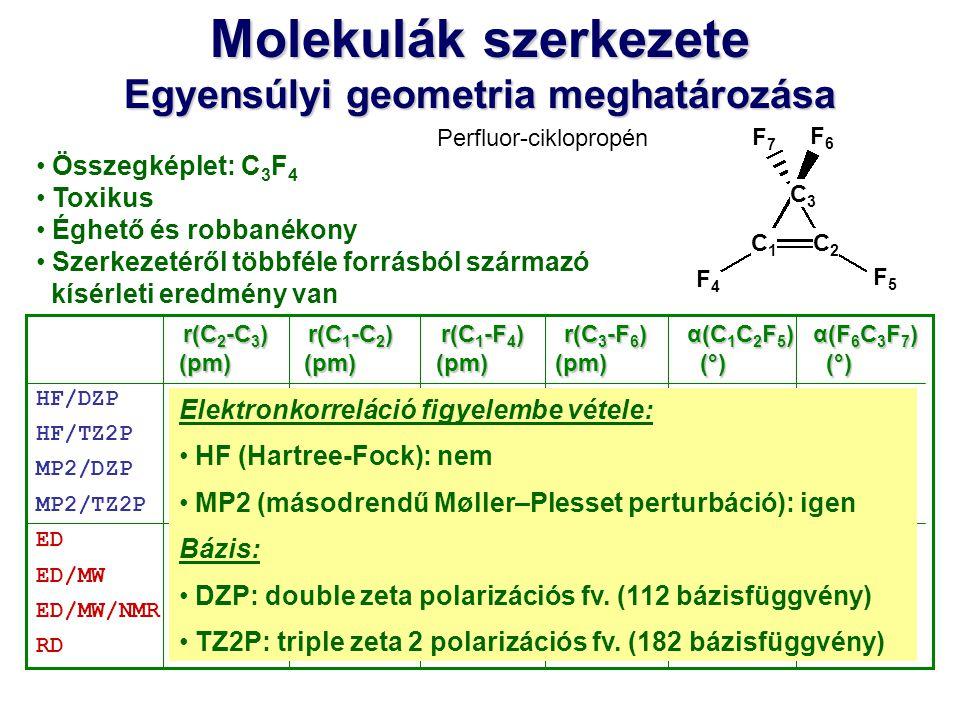 Molekulák szerkezete Egyensúlyi geometria meghatározása Összegképlet: C 3 F 4 Toxikus Éghető és robbanékony Szerkezetéről többféle forrásból származó
