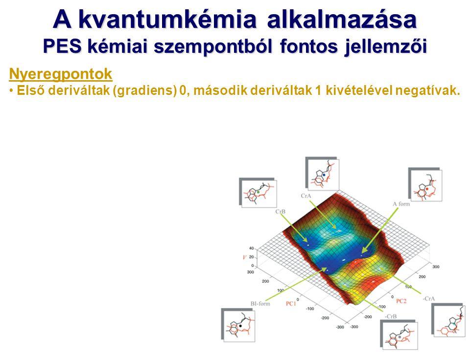A kvantumkémia alkalmazása PES kémiai szempontból fontos jellemzői Nyeregpontok Első deriváltak (gradiens) 0, második deriváltak 1 kivételével negatív
