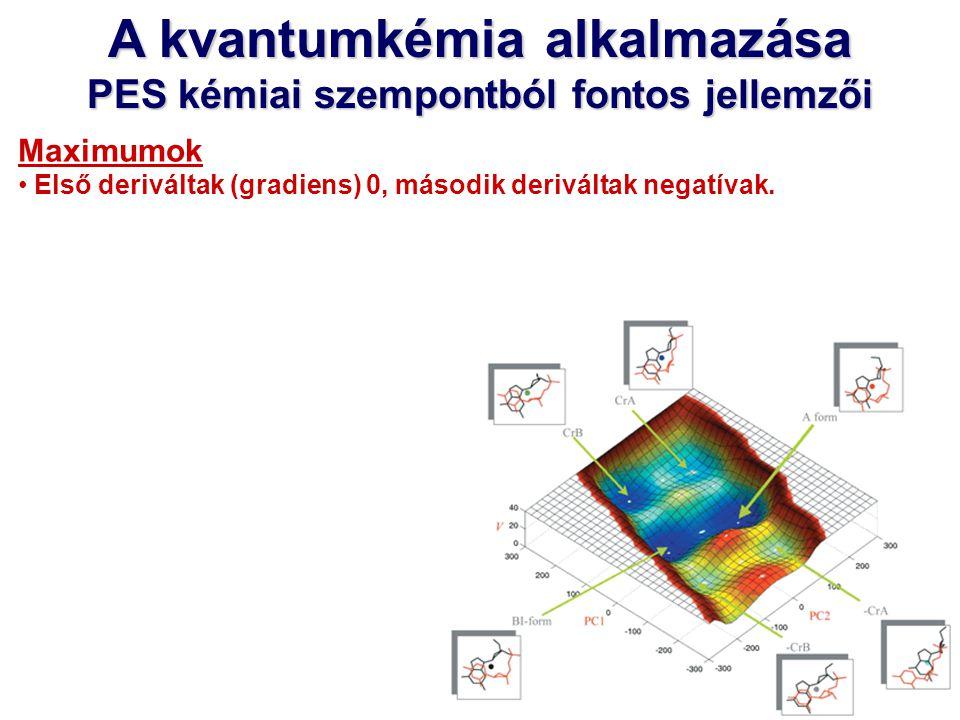 Kémiai reakciók PES kémiai szempontból fontos jellemzői Minimumok Az egyes molekulák, stabil konformerek rendelhetők hozzá.