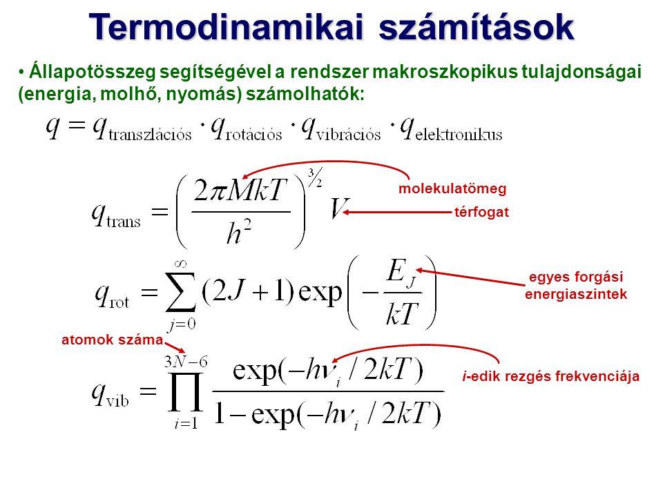 Állapotösszeg segítségével a rendszer makroszkopikus tulajdonságai (energia, molhő, nyomás) számolhatók: egyes forgási energiaszintek térfogat molekul