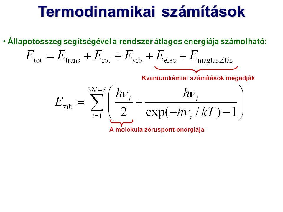 Állapotösszeg segítségével a rendszer átlagos energiája számolható: Kvantumkémiai számítások megadják A molekula zéruspont-energiája Termodinamikai sz