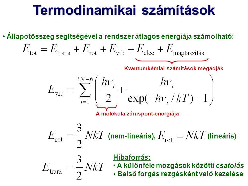 Állapotösszeg segítségével a rendszer átlagos energiája számolható: Kvantumkémiai számítások megadják A molekula zéruspont-energiája (lineáris) (nem-l