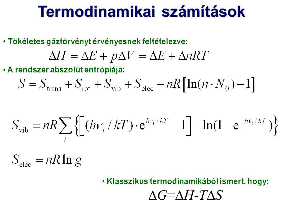 Tökéletes gáztörvényt érvényesnek feltételezve: A rendszer abszolút entrópiája: Termodinamikai számítások Klasszikus termodinamikából ismert, hogy: 