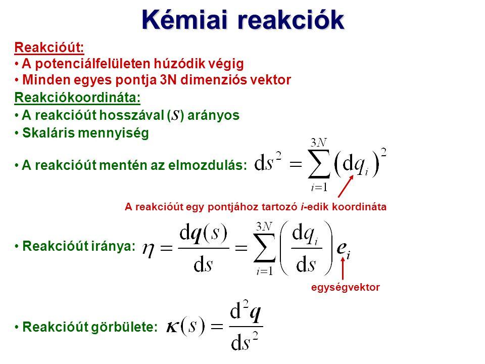 Kémiai reakciók Reakcióút: A potenciálfelületen húzódik végig Minden egyes pontja 3N dimenziós vektor Reakciókoordináta: A reakcióút hosszával ( s ) a