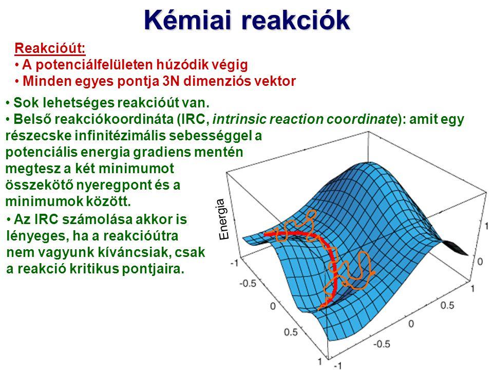 Kémiai reakciók Reakcióút: A potenciálfelületen húzódik végig Minden egyes pontja 3N dimenziós vektor Sok lehetséges reakcióút van. Belső reakciókoord