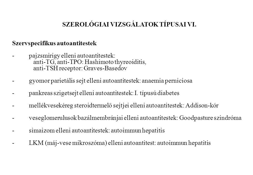 SZEROLÓGIAI VIZSGÁLATOK TÍPUSAI VI. Szervspecifikus autoantitestek - pajzsmirigy elleni autoantitestek: anti-TG, anti-TPO: Hashimoto thyreoiditis, ant