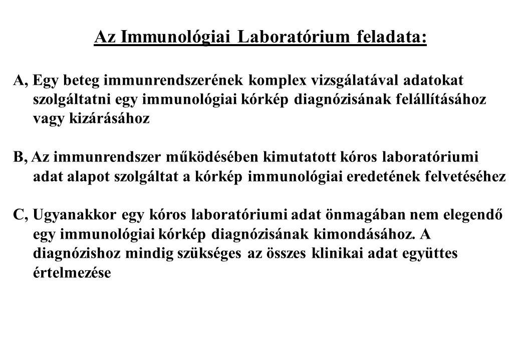 Az Immunológiai Laboratórium feladata: A, Egy beteg immunrendszerének komplex vizsgálatával adatokat szolgáltatni egy immunológiai kórkép diagnózisána