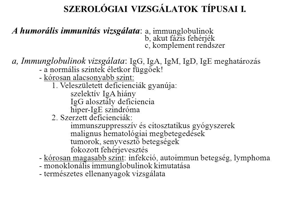SZEROLÓGIAI VIZSGÁLATOK TÍPUSAI I. A humorális immunitás vizsgálata: a, immunglobulinok b, akut fázis fehérjék c, komplement rendszer a, Immunglobulin
