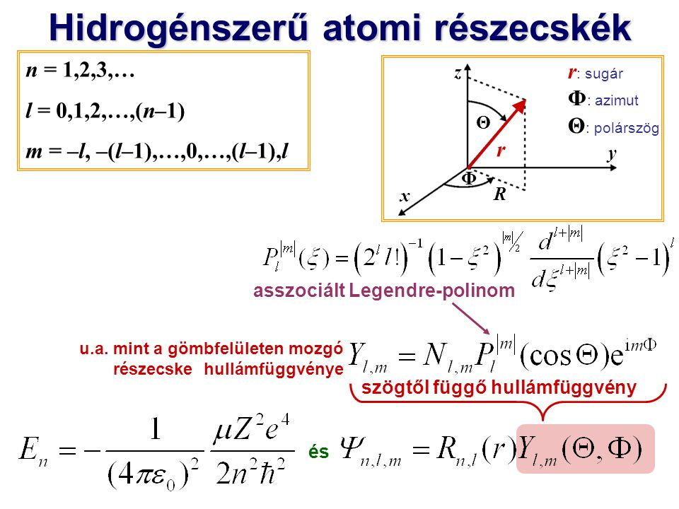 Hidrogénszerű atomi részecskék és x y z r Θ Φ r : sugár Φ : azimut Θ : polárszög R n = 1,2,3,… l = 0,1,2,…,(n–1) m = –l, –(l–1),…,0,…,(l–1),l u.a.