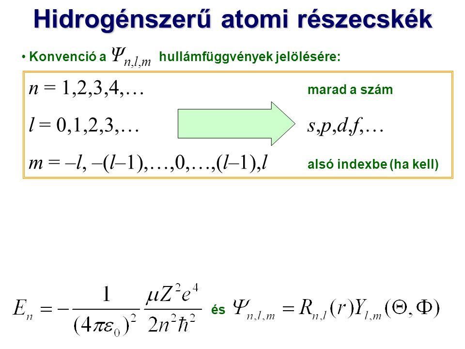 Hidrogénszerű atomi részecskék n = 1,2,3,4,… marad a szám l = 0,1,2,3,…s,p,d,f,… m = –l, –(l–1),…,0,…,(l–1),l alsó indexbe (ha kell) Konvenció a Ψ n,l,m hullámfüggvények jelölésére: Ψ 1,0,0 Ψ 2,0,0 Ψ 2,1,1 Ψ 2,1,-1 Ψ 2,1,0 1s1s 2s2s 2p +1 2p -1 2p02p0