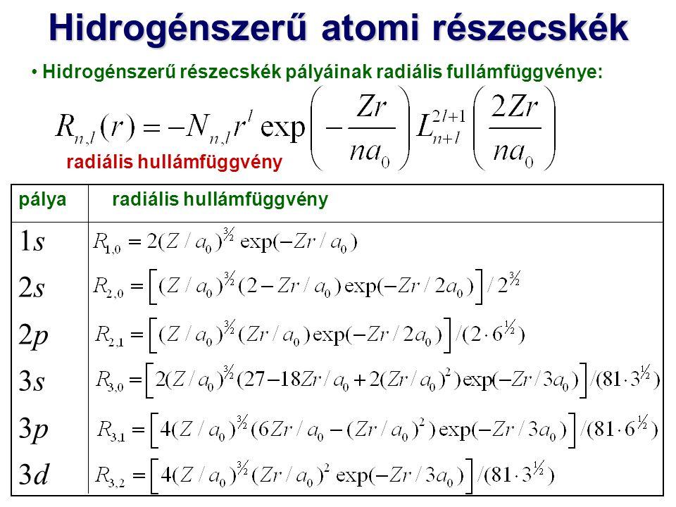 Hidrogénszerű atomi részecskék pálya szögtől függő (anguláris) hullámfüggvény s p z p x p y d xz d yz d xy Valós atomi pályákhoz a komplex Y l,m függvények valós kombinációit (azaz Y l,cosmΦ és Y l,sinmΦ -t) használjuk: