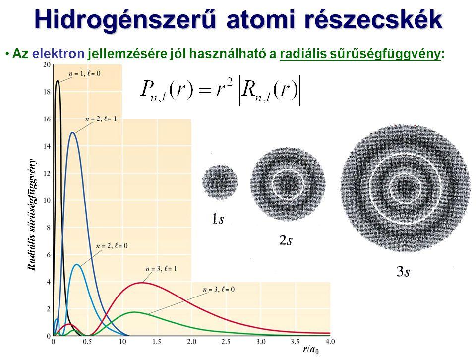 Hidrogénszerű atomi részecskék és a magtól való átlagos távolság: Az elektron jellemzésére jól használható a radiális sűrűségfüggvény: