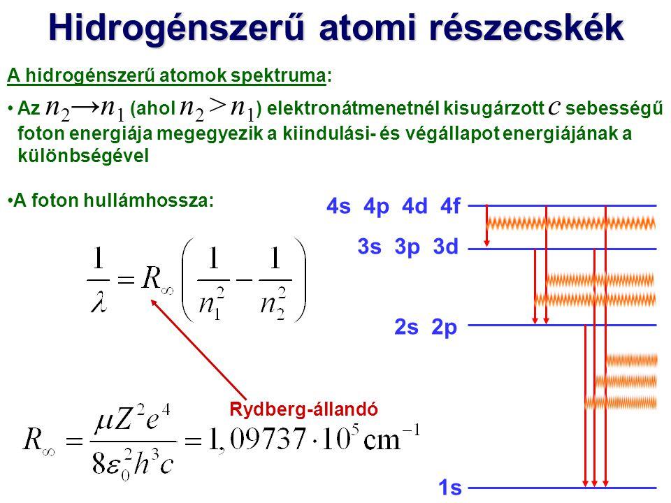 Hidrogénszerű atomi részecskék A hidrogénszerű atomok spektruma: Az n 2 →n 1 (ahol n 2 > n 1 ) elektronátmenetnél kisugárzott c sebességű foton energiája megegyezik a kiindulási- és végállapot energiájának a különbségével A foton hullámhossza: Rydberg-állandó E ioniz.