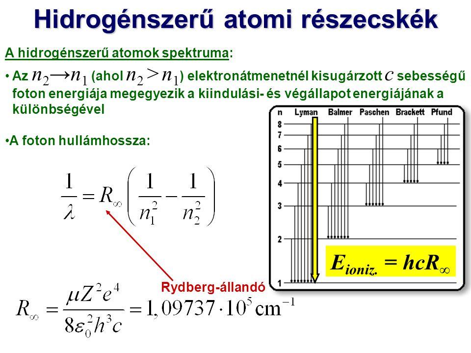 Hidrogénszerű atomi részecskék A hidrogénszerű atomok spektruma: Az n 2 →n 1 (ahol n 2 > n 1 ) elektronátmenetnél kisugárzott c sebességű foton energiája megegyezik a kiindulási- és végállapot energiájának a különbségével A foton hullámhossza: Rydberg-állandó 486,2 nm 656,3 nm