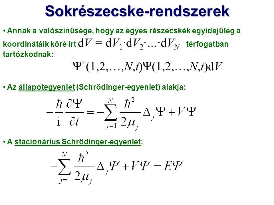 Annak a valószínűsége, hogy az egyes részecskék egyidejűleg a koordinátáik köré írt dV = dV 1 ·dV 2 ·…·dV N térfogatban tartózkodnak: Ψ * (1,2,…,N,t)Ψ(1,2,…,N,t)dV Az állapotegyenlet (Schrödinger-egyenlet) alakja: A stacionárius Schrödinger-egyenlet:Sokrészecske-rendszerek A sokrészecske-rendszerek stacionárius Schrödinger-egyenletének a megoldása általában bonyolult Közelítő megoldások kellenek, pl.