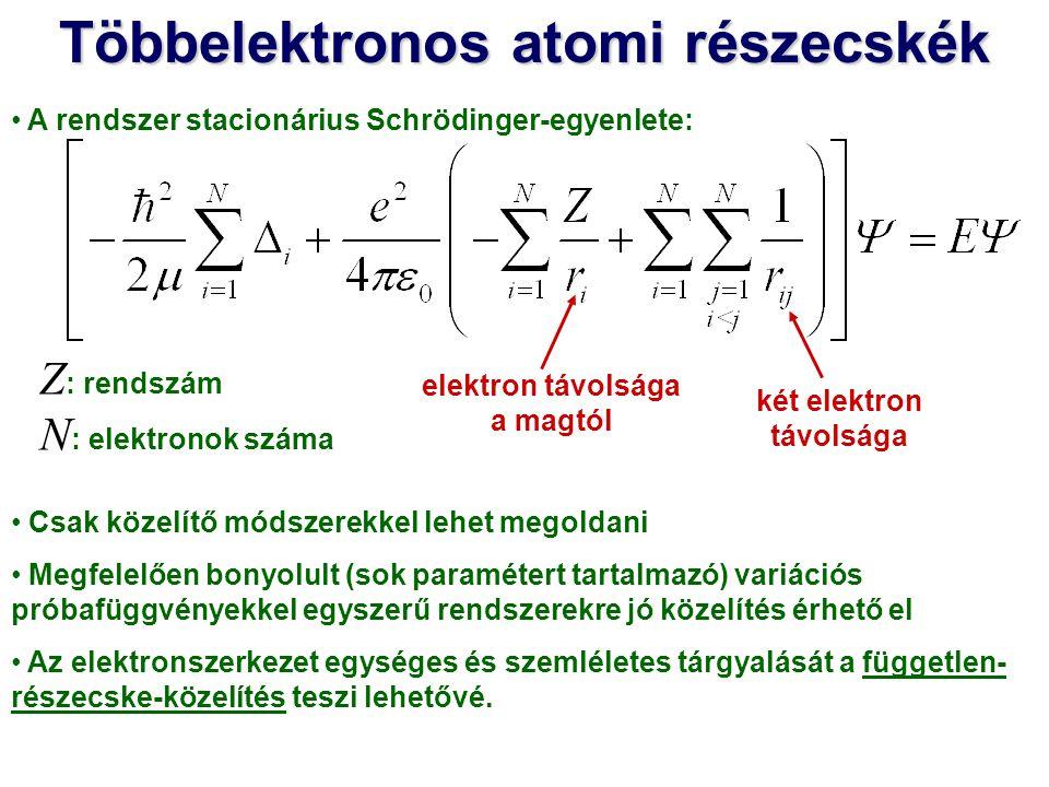 Többelektronos atomi részecskék Legegyszerűbb függetlenrészecske-közelítés Feltételezzük, hogy az N számú elektron egymással való kölcsönhatása elhanyagolható.