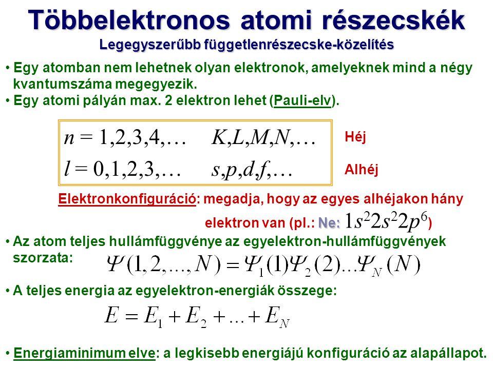 A többrészecskés Schrödinger-egyenletet megint egyrészecske- egyenletekre bontjuk, de az elektronok kölcsönhatását is figyelembe vesszük.