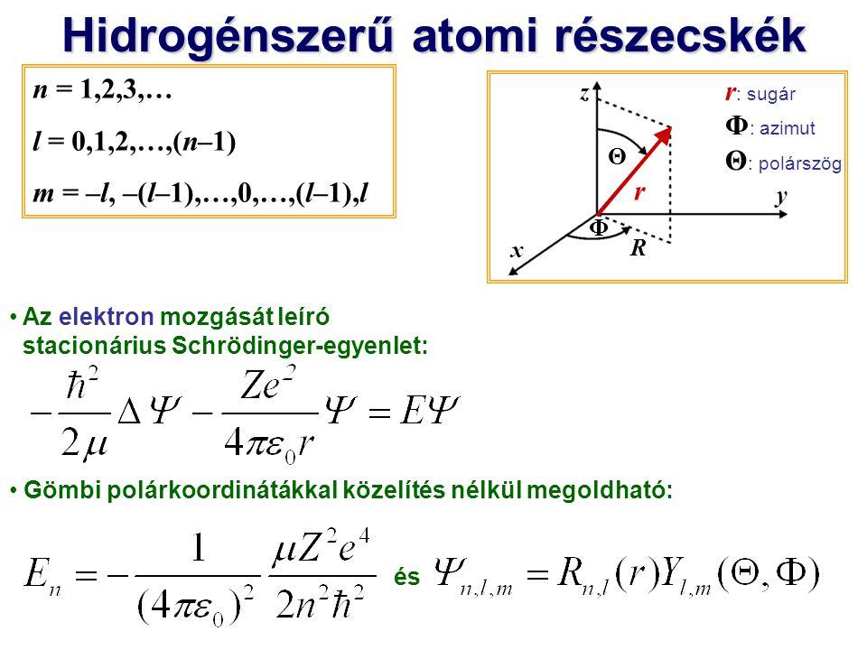 Hidrogénszerű atomi részecskék radiális hullámfüggvény és n = 1,2,3,… l = 0,1,2,…,(n–1) m = –l, –(l–1),…,0,…,(l–1),l