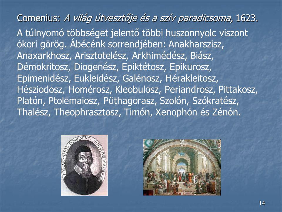 14 Comenius: A világ útvesztője és a szív paradicsoma, 1623. A túlnyomó többséget jelentő többi huszonnyolc viszont ókori görög. Ábécénk sorrendjében: