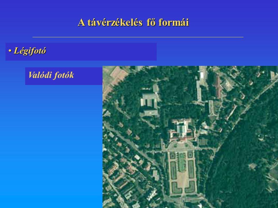 Légifotó Légifotó Valódi fotók A távérzékelés fő formái