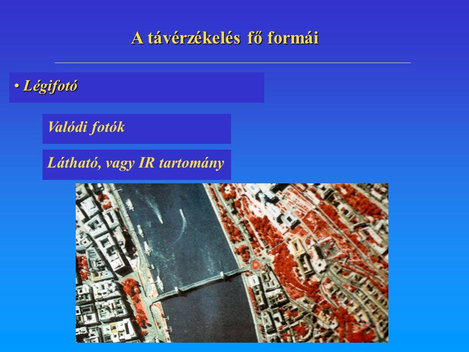 Légifotó Légifotó Valódi fotók Látható, vagy IR tartomány A távérzékelés fő formái