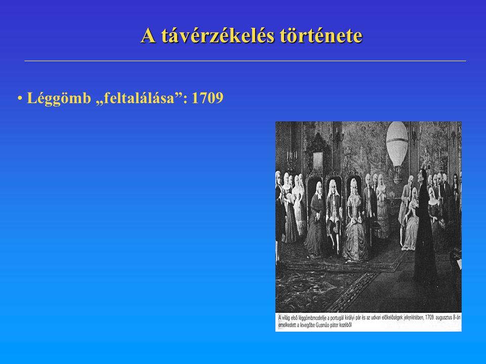 """A távérzékelés története Léggömb """"feltalálása"""": 1709"""