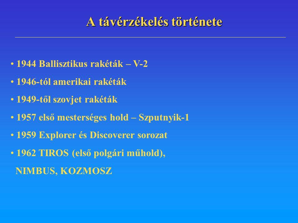 1944 Ballisztikus rakéták – V-2 1946-tól amerikai rakéták 1949-től szovjet rakéták 1957 első mesterséges hold – Szputnyik-1 1959 Explorer és Discovere