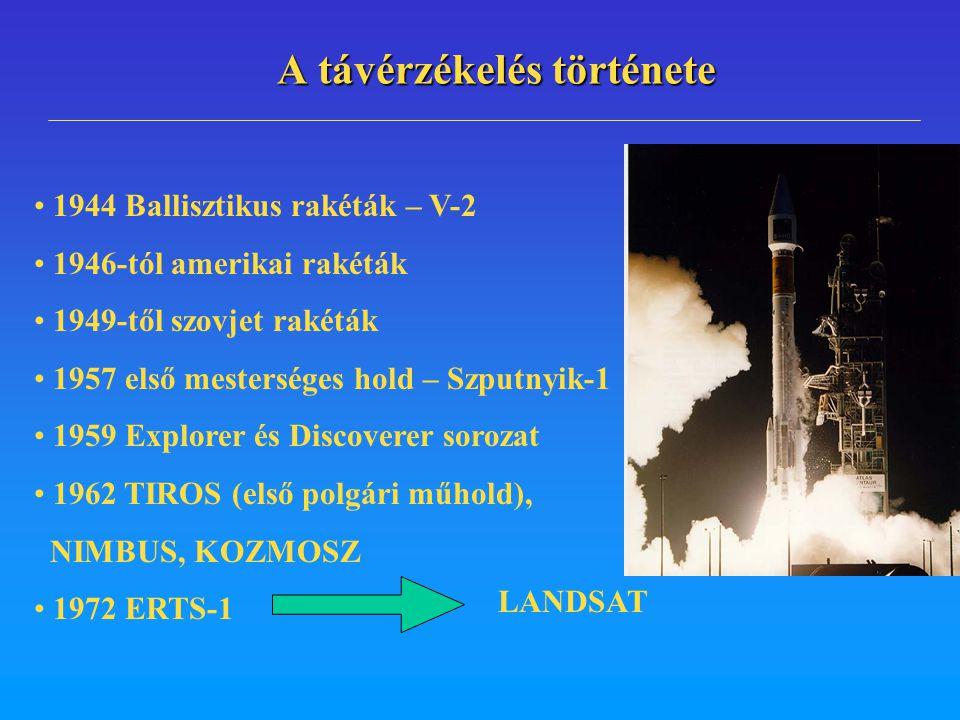 A távérzékelés története 1944 Ballisztikus rakéták – V-2 1946-tól amerikai rakéták 1949-től szovjet rakéták 1957 első mesterséges hold – Szputnyik-1 1