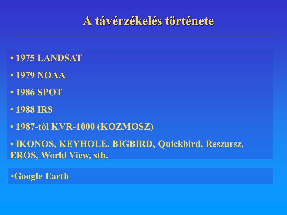 A távérzékelés története 1975 LANDSAT 1979 NOAA 1986 SPOT 1988 IRS 1987-től KVR-1000 (KOZMOSZ) IKONOS, KEYHOLE, BIGBIRD, Quickbird, Reszursz, EROS, Wo