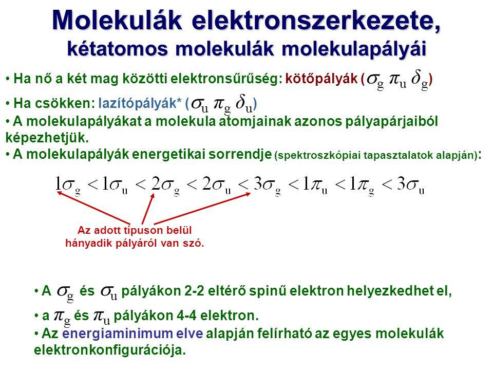 Molekulák elektronszerkezete, kétatomos molekulák molekulapályái Ha nő a két mag közötti elektronsűrűség: kötőpályák (  g π u δ g ) Ha csökken: lazít