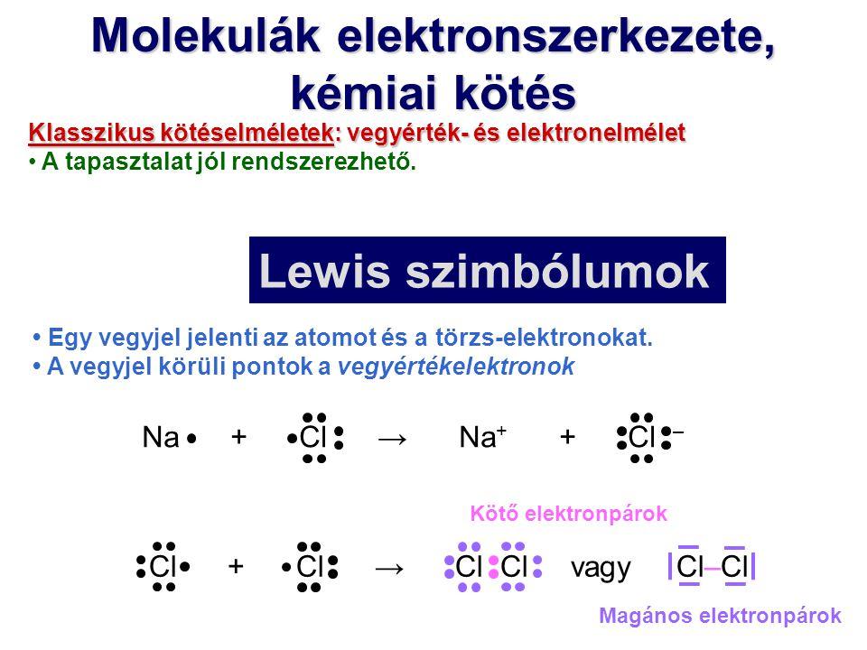 Molekulák elektronszerkezete, kémiai kötés Klasszikus kötéselméletek: vegyérték- és elektronelmélet A tapasztalat jól rendszerezhető. Egy vegyjel jele