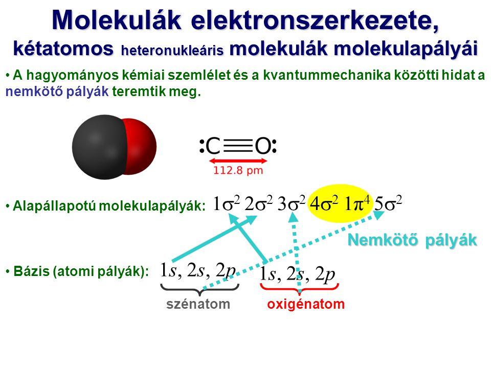 A hagyományos kémiai szemlélet és a kvantummechanika közötti hidat a nemkötő pályák teremtik meg. Alapállapotú molekulapályák: Bázis (atomi pályák): s