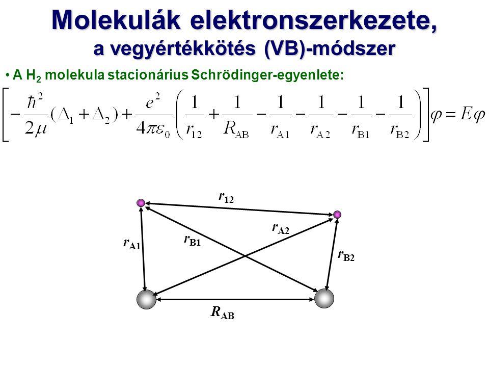 Molekulák elektronszerkezete, a vegyértékkötés (VB)-módszer A H 2 molekula stacionárius Schrödinger-egyenlete: R AB r A1 r A2 r B2 r B1 r 12