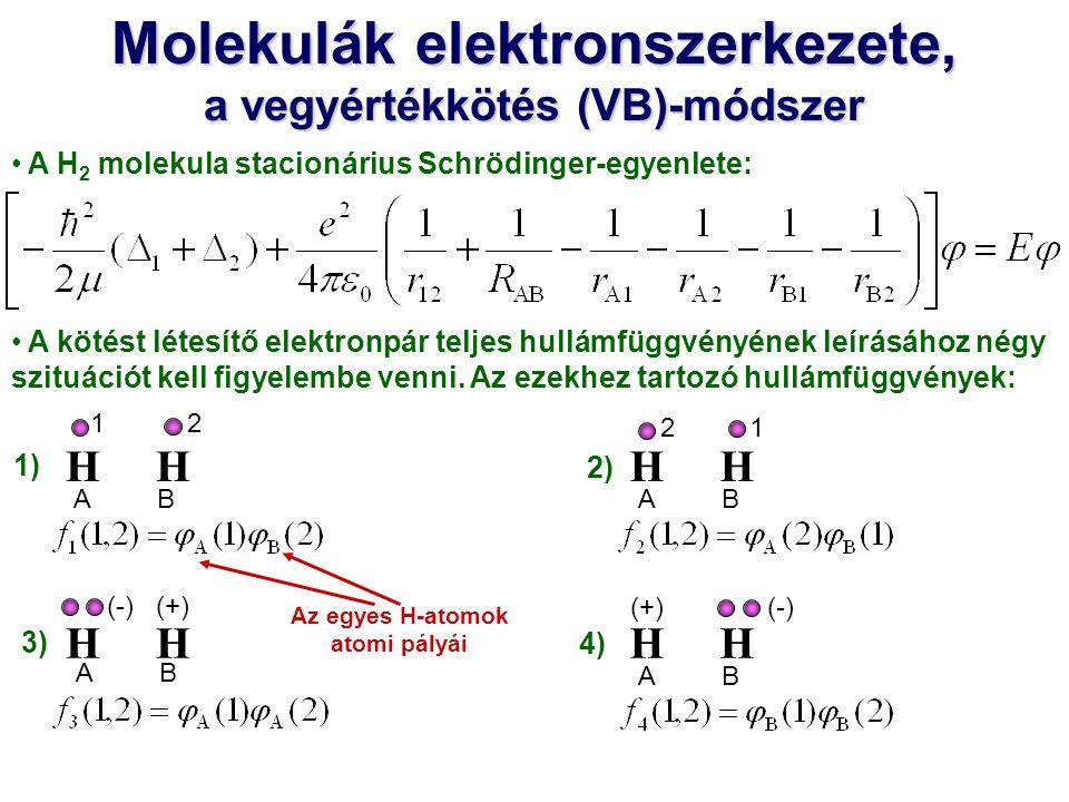 Molekulák elektronszerkezete, a vegyértékkötés (VB)-módszer H A H 2 molekula stacionárius Schrödinger-egyenlete: A kötést létesítő elektronpár teljes