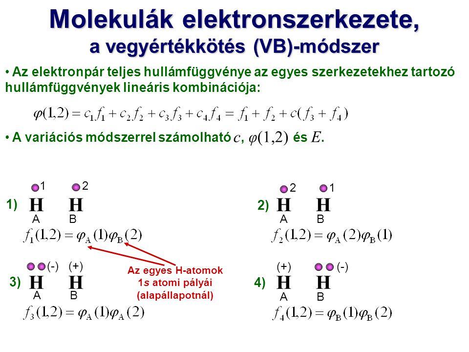 Az elektronpár teljes hullámfüggvénye az egyes szerkezetekhez tartozó hullámfüggvények lineáris kombinációja: A variációs módszerrel számolható c, φ(1