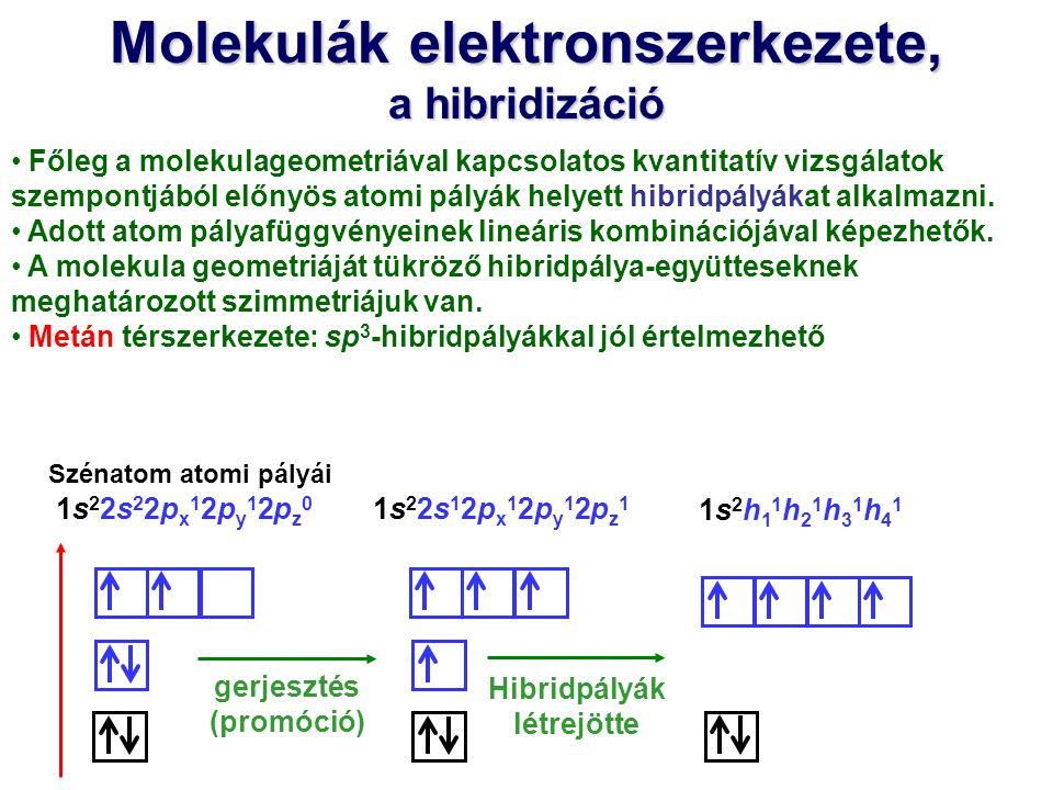 Molekulák elektronszerkezete, a hibridizáció Főleg a molekulageometriával kapcsolatos kvantitatív vizsgálatok szempontjából előnyös atomi pályák helye
