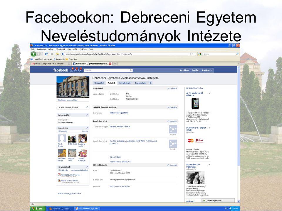 Facebookon: Debreceni Egyetem Neveléstudományok Intézete