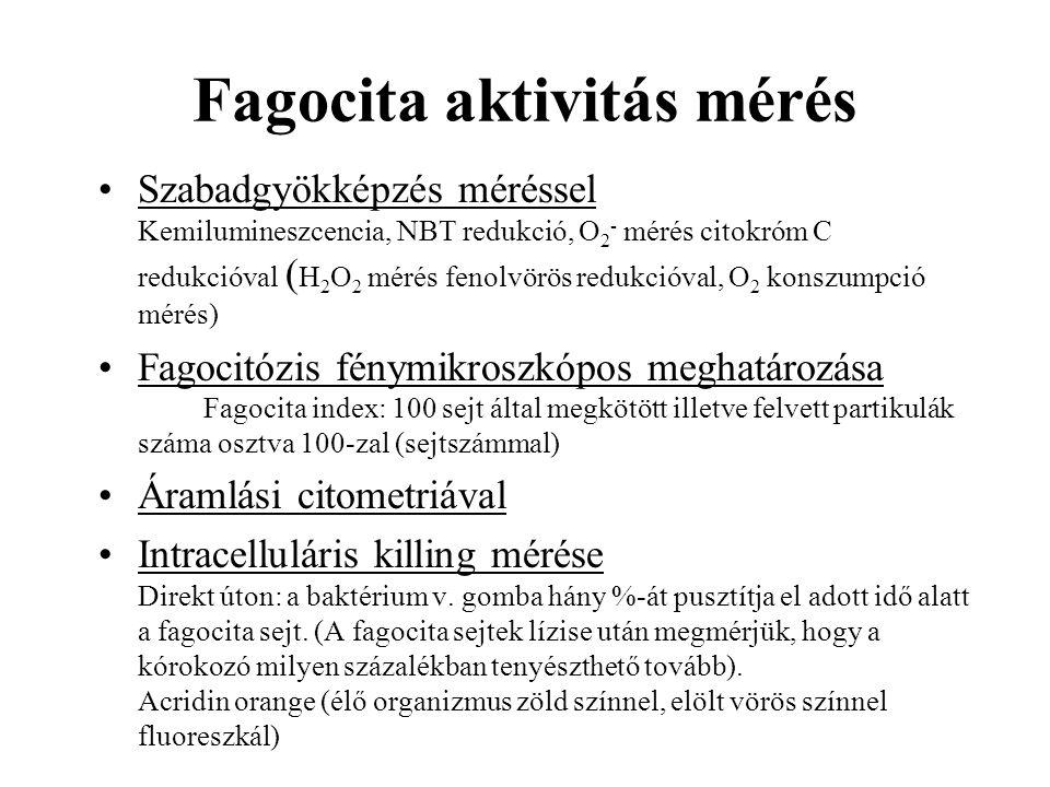 Fagocita aktivitás mérés Szabadgyökképzés méréssel Kemilumineszcencia, NBT redukció, O 2 - mérés citokróm C redukcióval ( H 2 O 2 mérés fenolvörös red