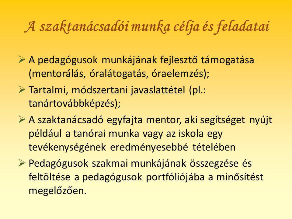 A szaktanácsadói munka célja és feladatai  A pedagógusok munkájának fejlesztő támogatása (mentorálás, óralátogatás, óraelemzés);  Tartalmi, módszert