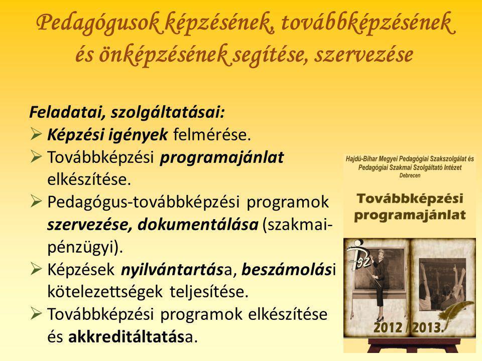 Pedagógusok képzésének, továbbképzésének és önképzésének segítése, szervezése Feladatai, szolgáltatásai:  Képzési igények felmérése.  Továbbképzési
