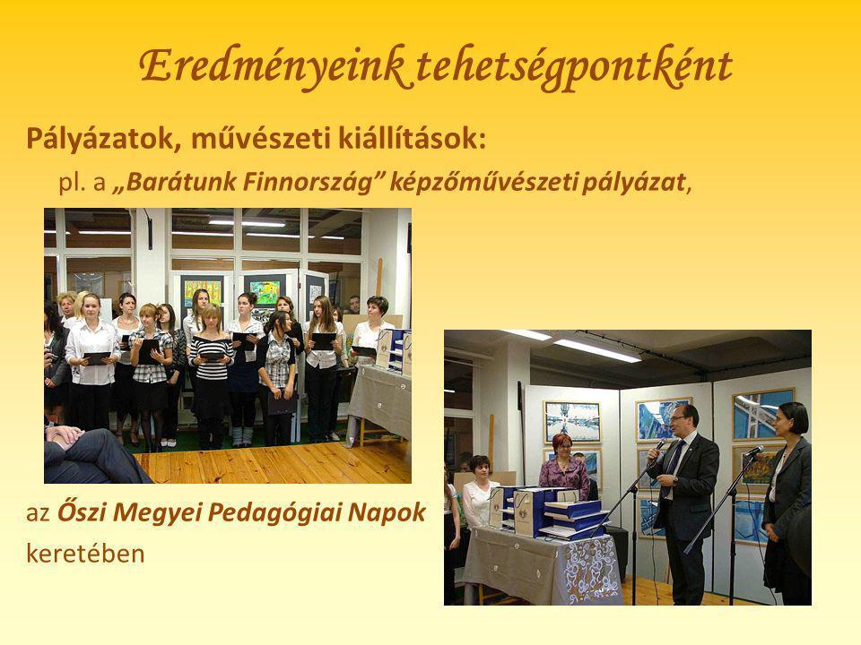 """Eredményeink tehetségpontként Pályázatok, művészeti kiállítások: pl. a """"Barátunk Finnország"""" képzőművészeti pályázat, az Őszi Megyei Pedagógiai Napok"""