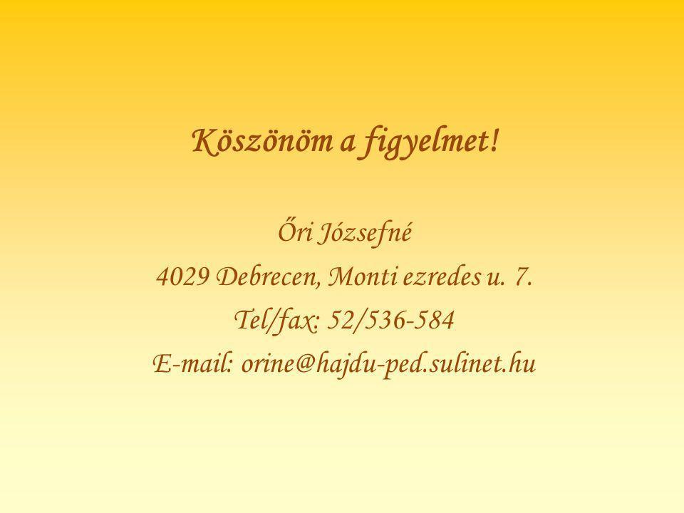 Köszönöm a figyelmet! Őri Józsefné 4029 Debrecen, Monti ezredes u. 7. Tel/fax: 52/536-584 E-mail: orine@hajdu-ped.sulinet.hu