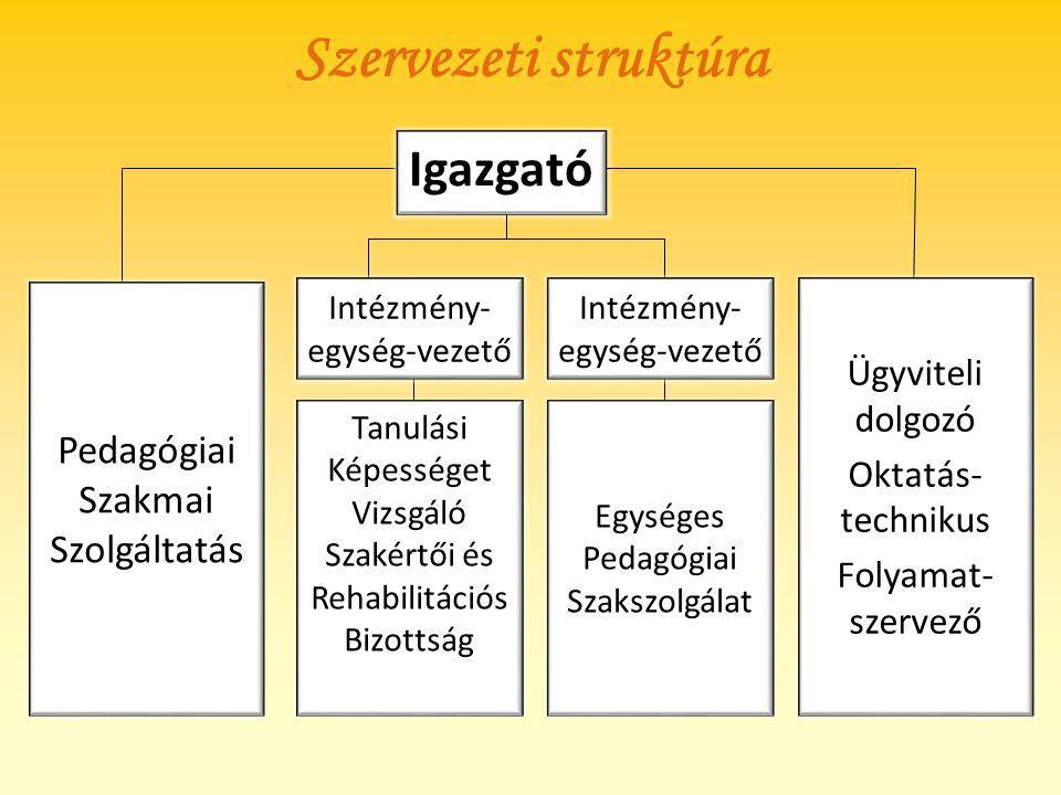 Szervezeti struktúra Igazgató Intézmény- egység-vezető Pedagógiai Szakmai Szolgáltatás Egységes Pedagógiai Szakszolgálat Tanulási Képességet Vizsgáló